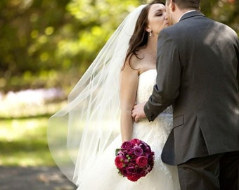 Wedding Veil Fingertip Length Single Tier with Cut Edge Standard Fullness Bridal Veil CE45X72