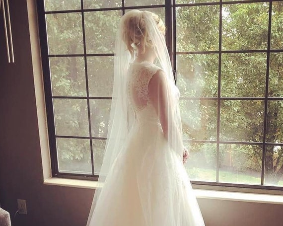 Wedding Veil Cathedral Length Single Tier Rolled Edge, Bridal Veil  RECath