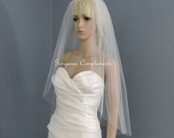 Wedding Veil Single Tier Cut Edge Hip Length Extra Fullness, Bridal Veil 33X108CE