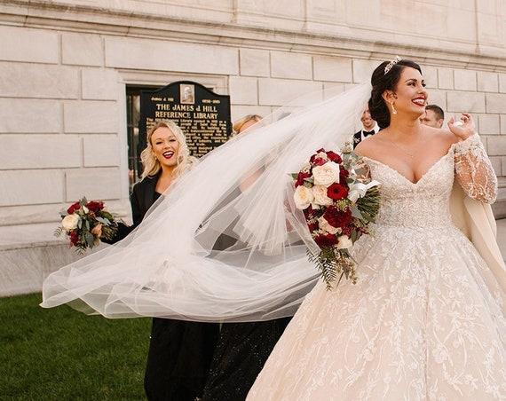 "Gorgeous Cathedral 120"" Drop Veil Cut Edge Wedding Veil, Bridal Veil, Dramatic Veil"