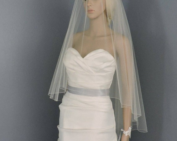 Wedding Veil Drop Veil Double Tier Pencil Edge, Bridal Veil