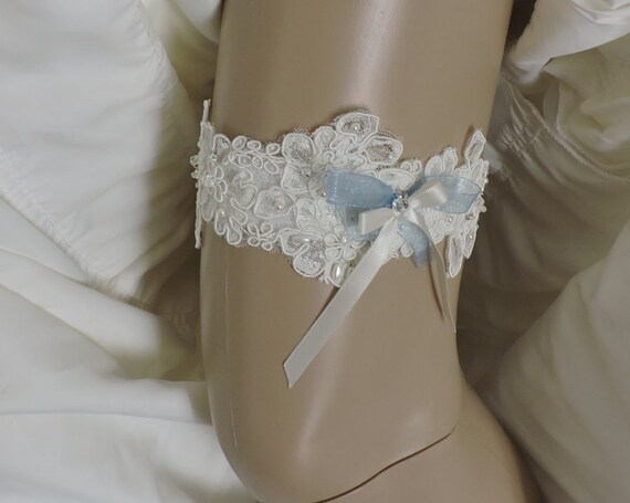Ivory Lace Wedding Garter Small Large or Set