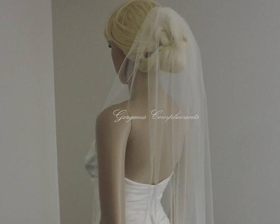 Wedding Veil , Single Tier Pencil Edge, Sheer Veil,  Short Veil Bridal Veil PE33X50
