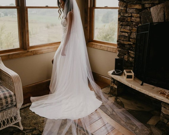 "Soft Wedding Veil Cut Edge 108"" Wide Simple Veil,,Bridal Veil, cathedral veil, chapel veil"