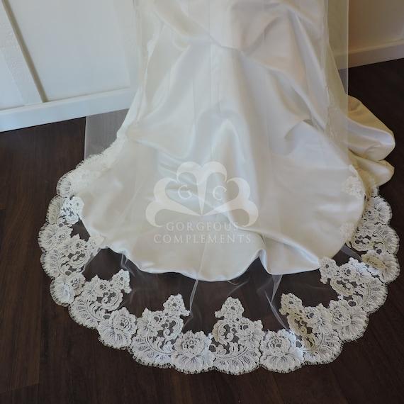 Cathedral Bridal Veil Vintage French Lace Ivory, Bridal Veil, Mantilla