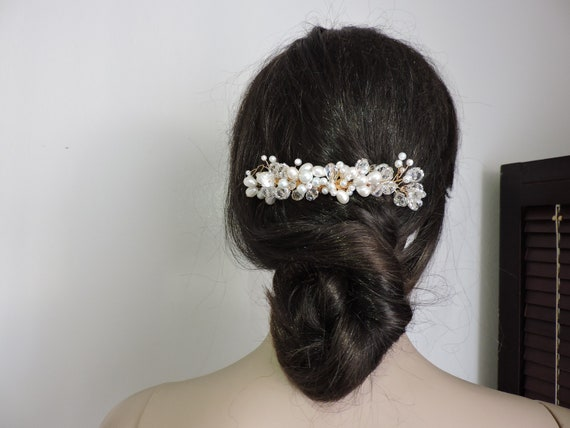Wedding Hair Comb Accessory Pearls and Crystals Taurus A-02