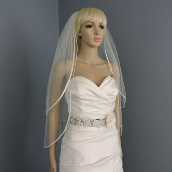 "Double Tier 1/4"" Bias Satin Straight Cut Sheer Bridal Veil"