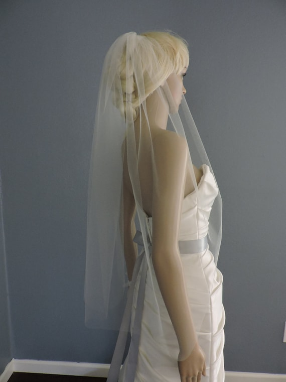 Sheer Wedding Veil Hip Lenght Cut Edge, Bridal Veil  CE36X50