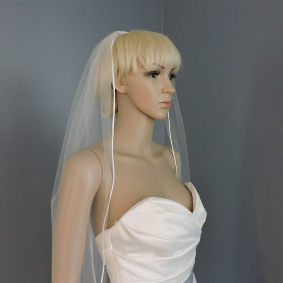 Sheer Wedding Veil with Satin Rattail Edge, Bridal Veil RE50X