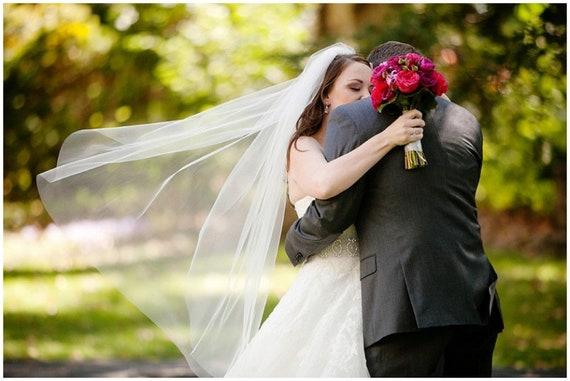 "Classic Cut Edge 72"" Standard Width Simple Veil,Wedding Veil,Bridal Veil"