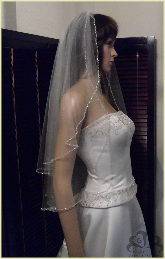 Wedding Veil Double Tier Cascade Beaded Swarovski Crystals and Pearls