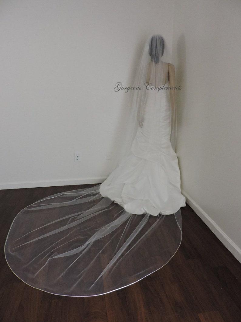Wedding Veil Single Tier with Soft Satin Rattail Edge Extra image 0