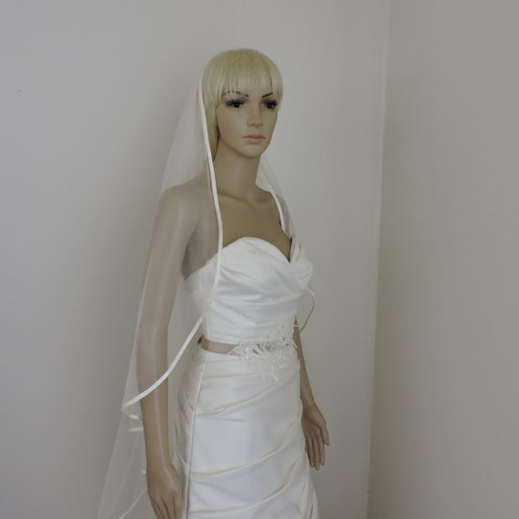 Cascade Bias Satin Edge Bridal Veil