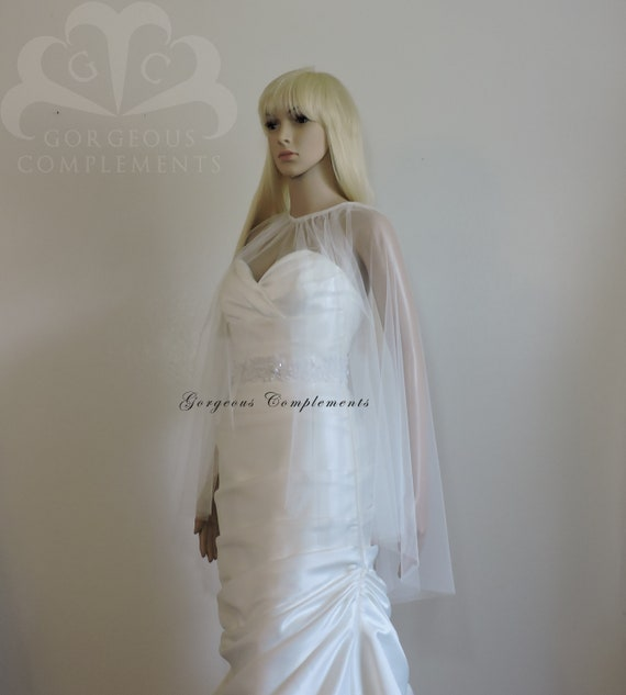 Julia Wedding Sheer Cape, English Net