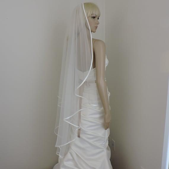 Cascade Bias Satin Edge Bridal Veil