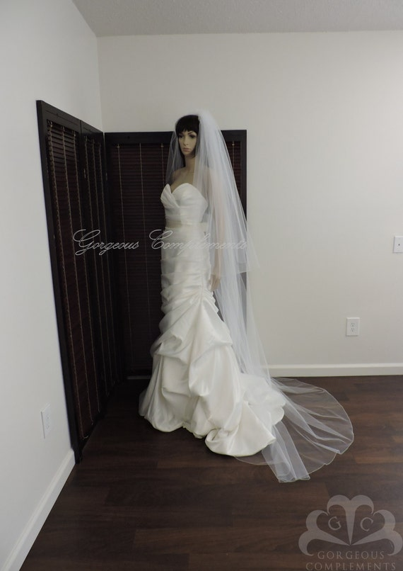 Wedding Veil Chapel Length Double Tier with Pencil Edge, Bridal Veil Extra Fullness