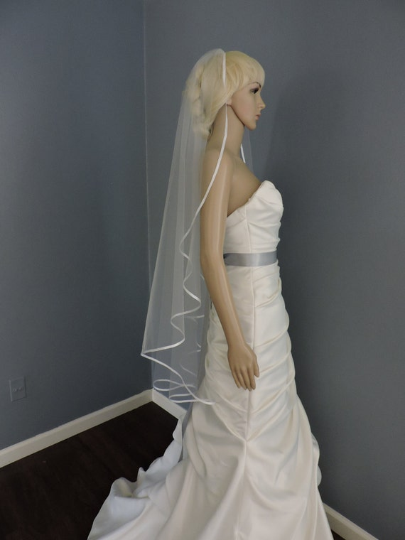 Wedding Veil Cascade Satin Ribbon Edge, Bridal Veil Choose your Color and Length CRIE