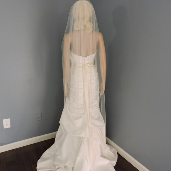 Wedding Veil Single Tier Cut Edge Standard Fullness, Bridal Veil STX70CE
