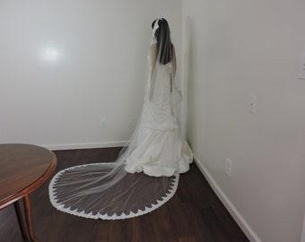 Silver Mantilla Bridal Veil Amazing Embroidered Lace, Bridal Veil