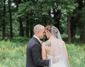 Minimalist Veil  / Mantilla Cut Veil / Cascade Veil, Bridal veil, Mantilla Cut Wedding Veil, Bridal Illusion Tulle, SYMCE