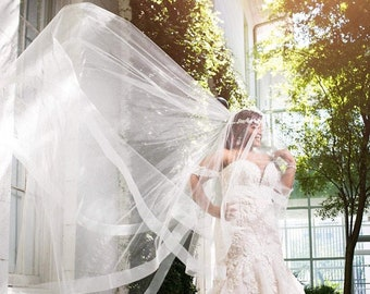 """Wedding Drop Veil Illusion Tulle with 2"""" Horsehair Trim, Bridal Veil,  HH2G Blush White Ivory Champagne Off White Light Ivory"""