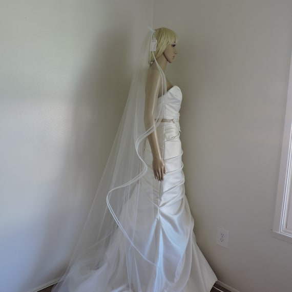 Double Horsehair Edge Wedding Single Tier Veil, Bridal Veil SDHH