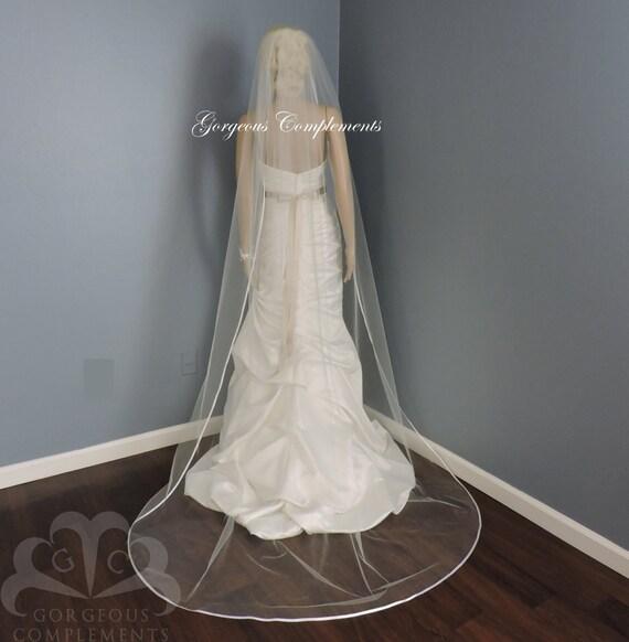 Wedding Veil Chapel Length Single Tier with Satin Ribbonl Edge  Extra Fullness, Bridal Veil  RE90X100