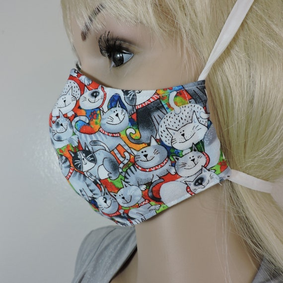 Reusable Mask / Soft Cotton Face Mask / Washable Face Mask / Adult Mask / Kid Mask/ Cats Design Mask