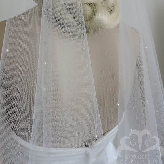Wedding Veil FINGERTIP Scattered Crystals Cut Edge Drop Veil