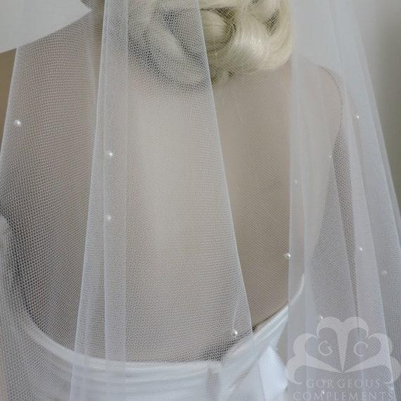 Wedding Veil FINGERTIP Scattered Crystals Cut Edge Drop Veil