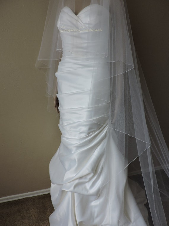 Wedding Veil Gorgeous Cathedral Drop Bridal Veil Pencil Edge, Bridal Veil DV36/120PE