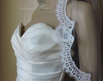 "Mantilla Bridal Veil Silk White Vintage French Alencon Lace, Bridal Veil 33"""