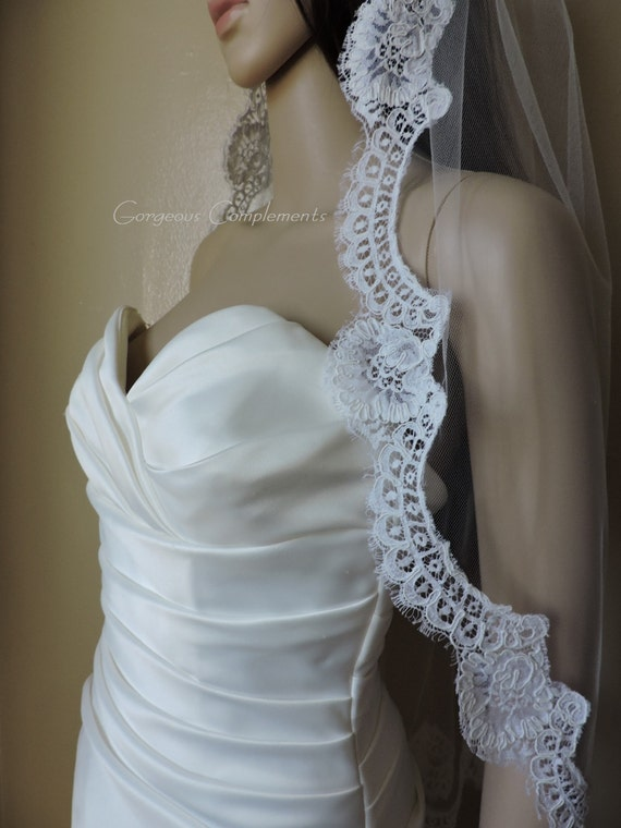 Mantilla Bridal Veil Silk White Vintage French Alencon Lace, Bridal Veil 33""