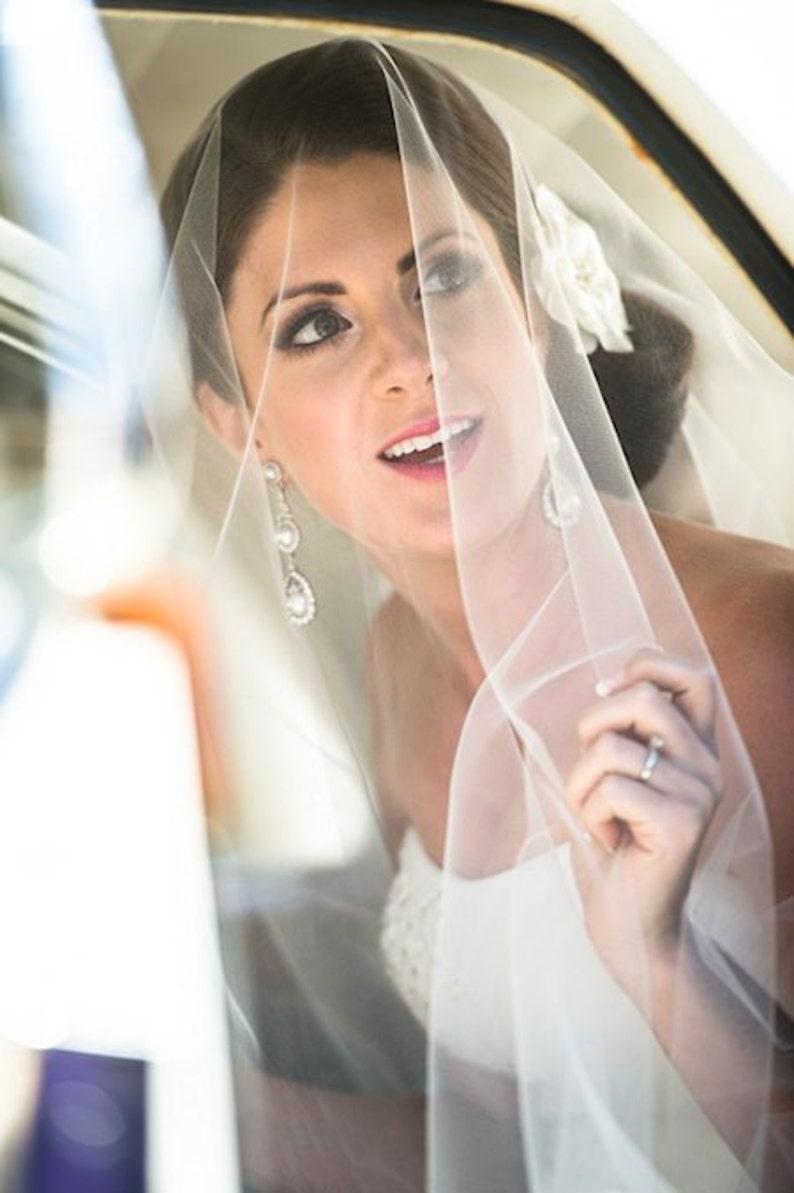 Soft Drop Wedding Veil Fingertip Bridal Veil DV30/45CE image 0