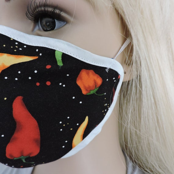 Reusable Mask / Cotton Face Mask / Washable Face Mask / Adult Mask / Kid Mask/ Chili Design Mask