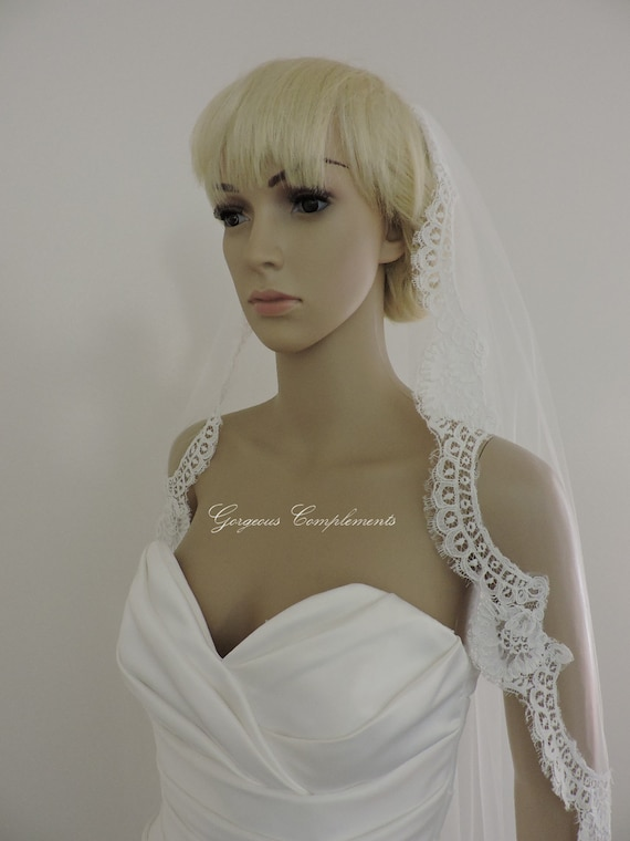 Vintage French Alencon Lace Wedding Mantilla Bridal Veil