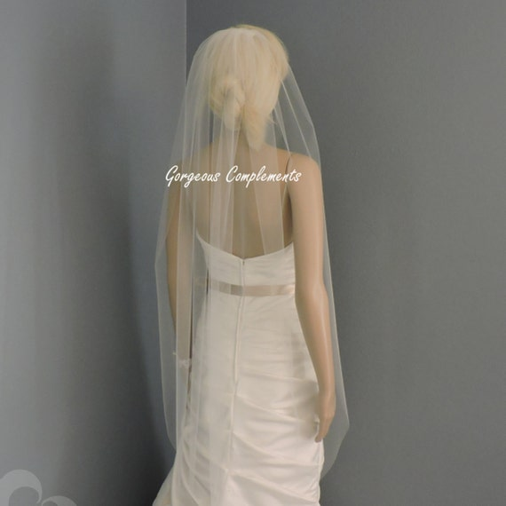 Single Fingertip Length Sheer Wedding Veil with Cut Edge, Bridal Veil ST4255CE
