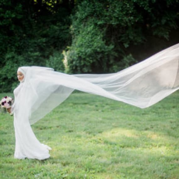 "Gorgeous Cathedral 200"" Drop Veil Cut Edge Wedding Veil, Bridal Veil, Dramatic Veil"