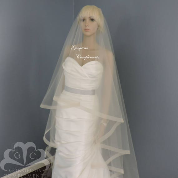 "1"" Horsehair Trim, Wedding Drop Veil,Bridal Veil, Illusion Tulle"
