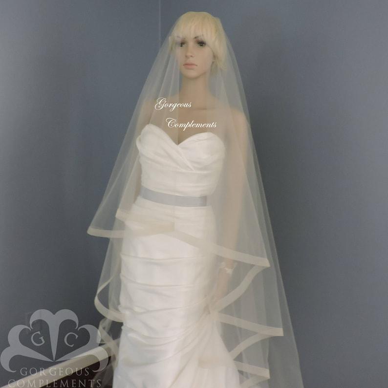 1 Horsehair Trim Wedding Drop VeilBridal Veil image 0