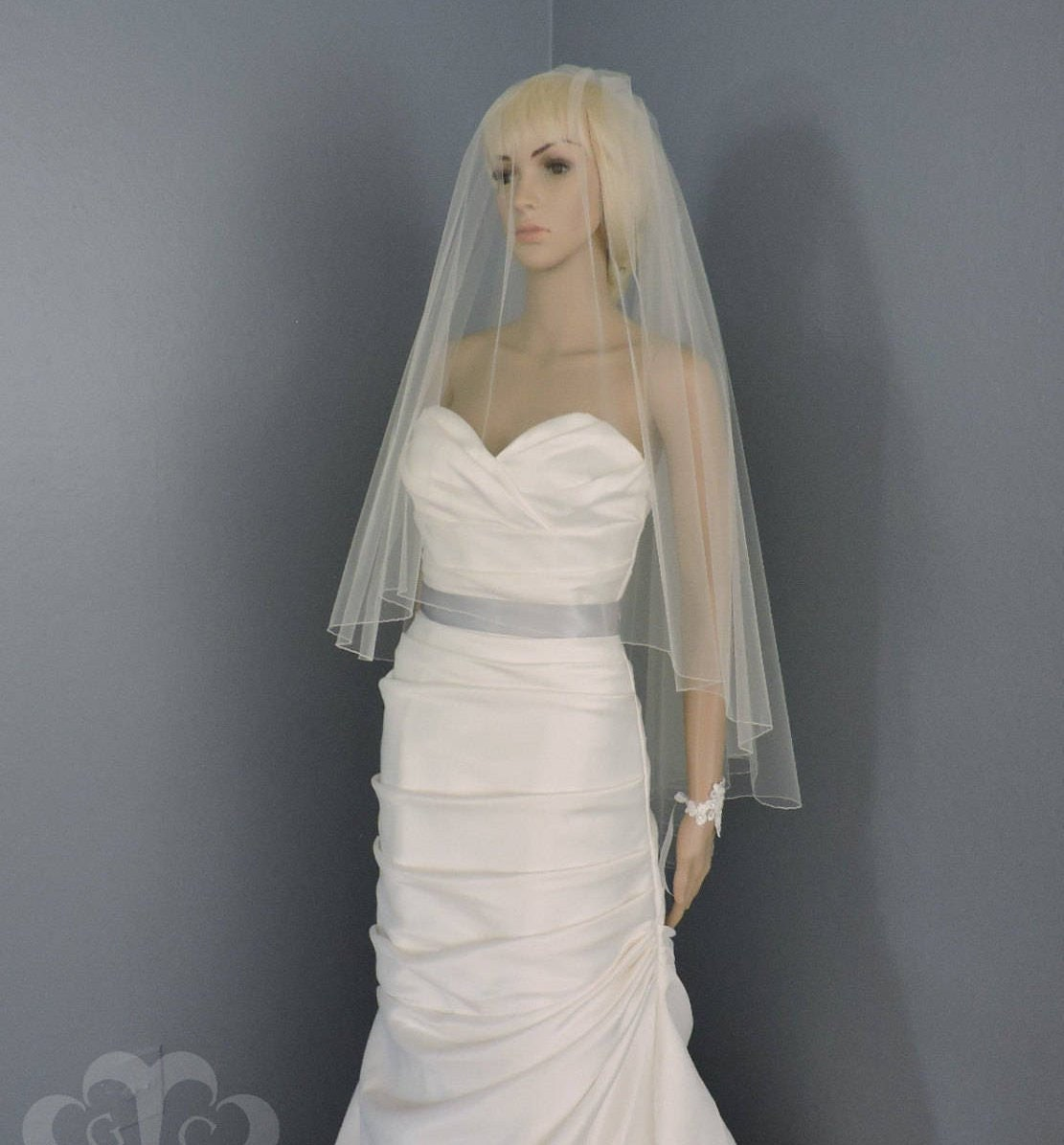 Wedding Veil Drop Veil Double Tier Pencil Edge Bridal Veil