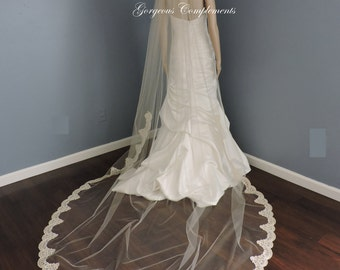Light Ivory Mantilla with Alencon Lace Style Trim, Bridal Veil