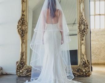 "5/8"" Horsehair Trim Wedding Veil , Bridal Veil, Blush, White, Ivory, Light Ivory, Off White,Champagne,Blue"