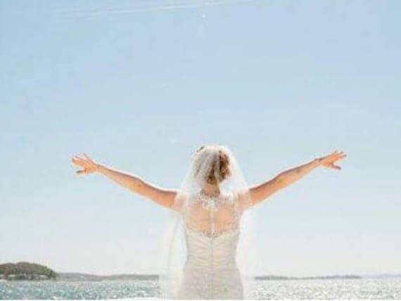 Wedding Veil Single Tier Pencil Edge Hip Length Standard Fullness, Bridal Veil PE3572
