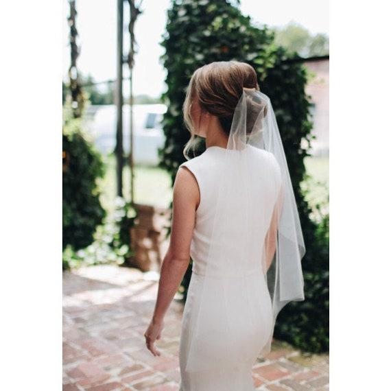 Wedding Veil Simplicity Short Cascade Waist Cut Edge, Bridal Veil Minimalist