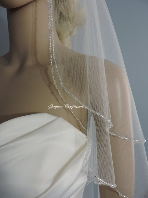 Wedding Veil Amazing Sparkle Beaded Bridal Veil