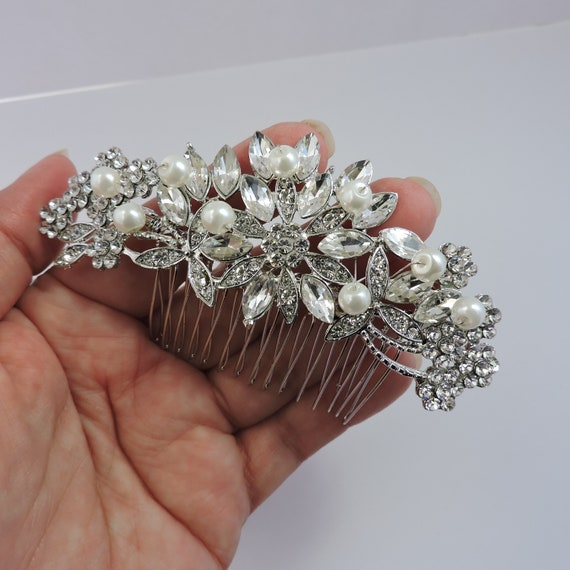 Crystals and Pearls Bridal Comb, Rose Gold or Silver