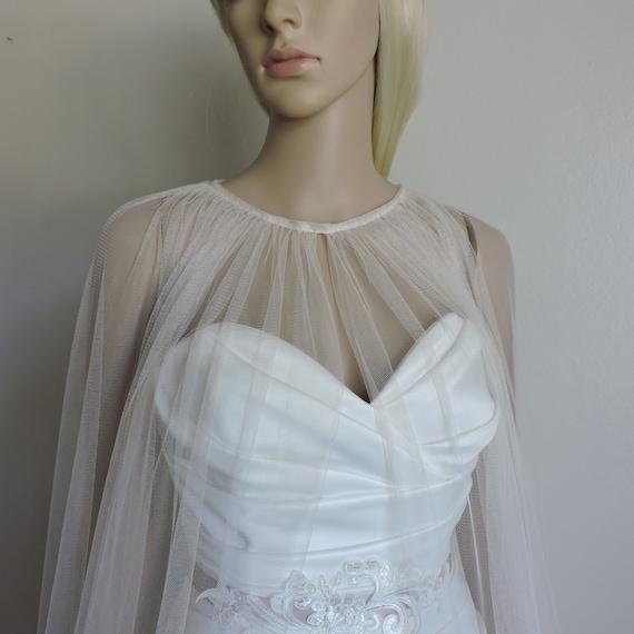 Julia Wedding Sheer Cape, English Net