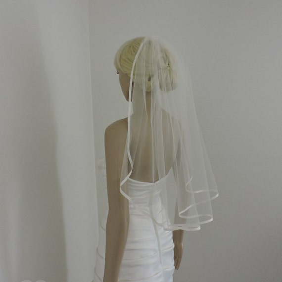 Wedding Veil Single Tier with Soft Satin Ribbon Bridal