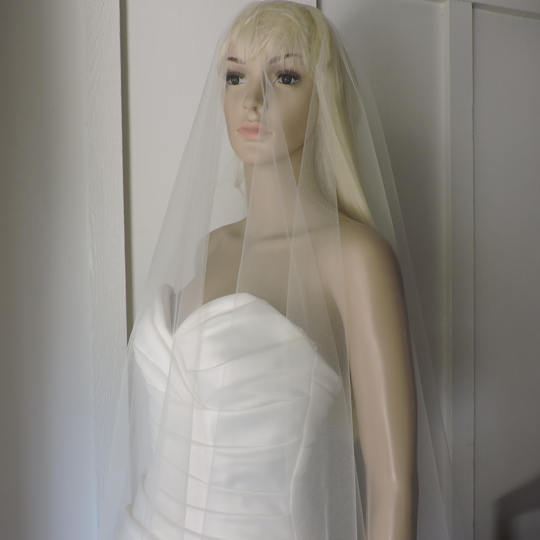 Wedding Drop Veil Cut Edge Waist Length Bridal Veil